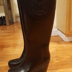 Hunter rain boots wedge heel